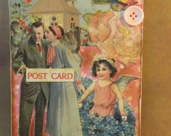 Handmade Greeeting Card Romance Couple Vintage Postcard Victorian Shabby Chic Paper Ephemera