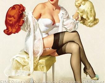 """Vintage Pinup Art Girl // Blonde Brunette or Redhead? by Gil Elvgren // 8""""x10"""" Digital Download // Easy to Shrink"""