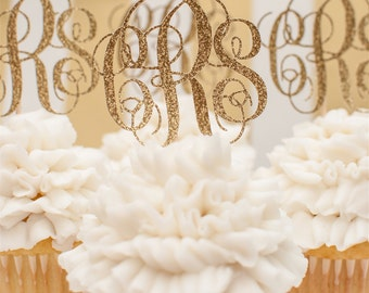 Custom Monogrammed Cupcake Toppers In Gold Glitter set of 12