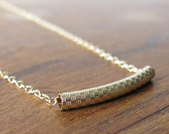 Gold Necklace, gold tube necklace, delicate gold necklace, bar necklace, Geometric, Modern, Minimal, Simple Necklace