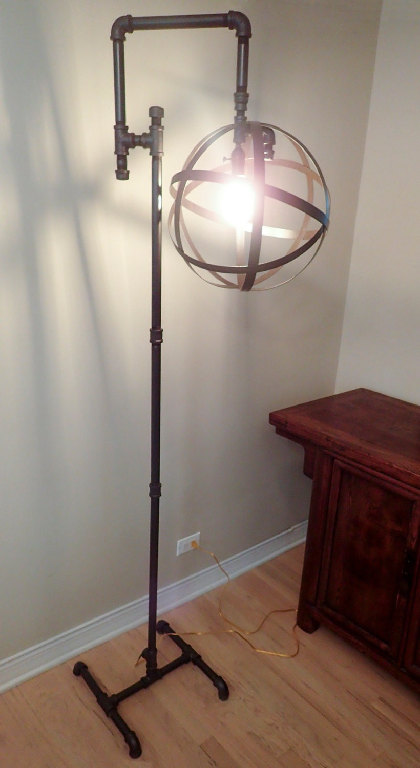 industrial pipe floor lamp with vintage edison bulb. Black Bedroom Furniture Sets. Home Design Ideas