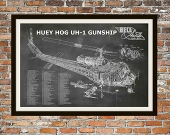 Blueprint Art of Helicopter Huey Vietnam Helicopter Technical Drawings Engineering Drawings Patent Blue Print Art Item 0003
