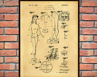 Patent 1961 Barbie Doll Patent Art Print Designed by John Ryan  - Poster Print - Wall Art Childs Room Nursery Wall Art