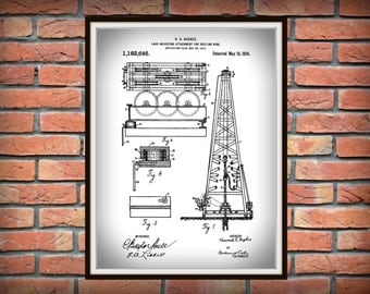 Patent 1916 Oil Drilling Rig Invented by Howard Hughes - Art Print - Poster Print - Wall Art - Texas Oil Rig - Load Indicating Attachment