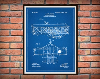 Patent 1906 Wright Brothers Airplane 2 - Flying Machine Art Print - Poster - Wall Art - Aviation Wall Art - First Airplane