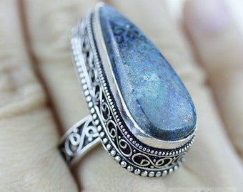 Size 8.5 - Triangle Shaped CHRYSOCOLLA 925 S0LID (Nickel Free) Sterling Silver Vintage Setting Ring & FREE Worldwide Express Shipping R1792