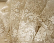 1 yard Width 51.18 inches ivory lace fabric,flowers embroidered lace,Cotton floral lace trim,3D lace fabric,lace for DIY dress,130CM(86-11)