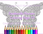 "Coloring page for adults doodle flowers ""Butterfly"", zentangle inspired, printable art original, PDF."