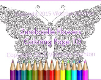 """Coloring page for adults doodle flowers """"Butterfly"""", zentangle inspired, printable art original, PDF."""