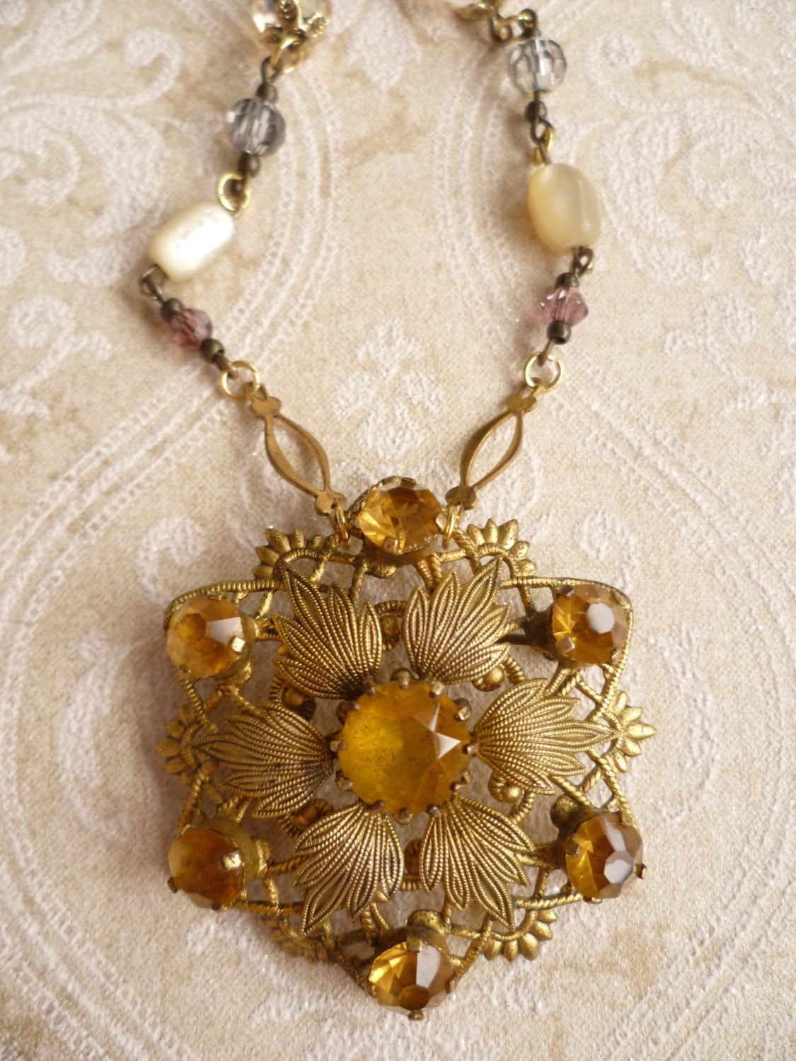 Vintage necklace repurposed jewelry for by classiqueadornment for Repurposed vintage jewelry designers