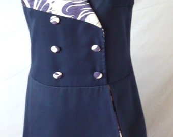 1960s' Ladies Drop Waisted Navy Blue and Floral Contrast Dress
