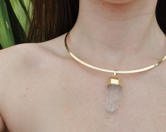 Gold Clear Quartz Statement Collar Necklace