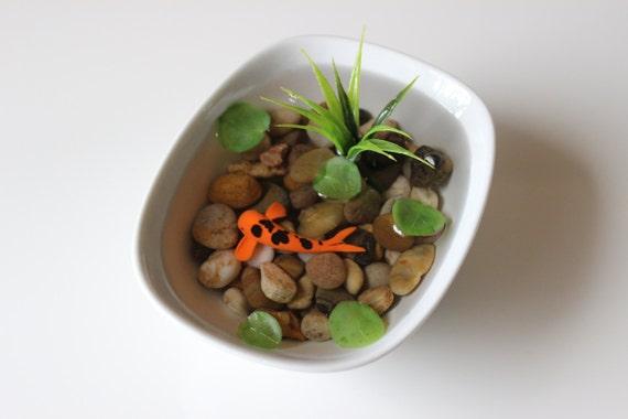 Miniature koi pond in porcelain bowl fake koi by paradiseponds for Artificial koi fish