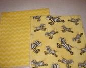 Baby Burp Cloths set of two ,  Zebra and Coordinating Chevron Print Burp Cloth Set ,  Baby Gift,  Zoo Animal Nursery,  Burp Rag Set