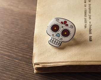 Sugar skull brooch, calavera, day of the dead, antique bronze