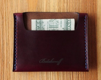 Very Slim Wallet in Horween Chromexcel Burgundy. Minimalistic and roomy