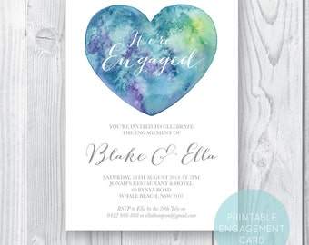 Printable Engagement Party Invitation, Engagement Party Invite, Engagement Dinner, DIY Printable, Watercolour Universal Heart