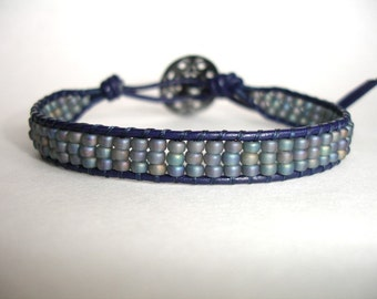 SALE - Dark Blue Leather Single Wrap Beaded Bracelet - Miyuki Seed Beads - Antique Silver Button - FREE SHIPPING - Gift For Her