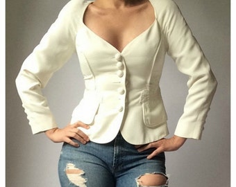 Lolita Lempicka Structured White Blazer with Embroidery Detail
