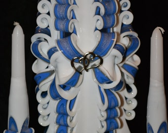 3pc Hand Carved Unity Candle Set, Unity Candle with set of Tapers (Candle holders NOT included) Blue and White