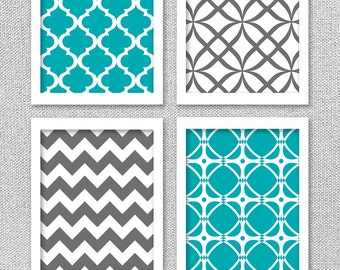 Printable Art Set, Turquoise Teal Gray Art, Printable Wall Art, Pattern Art, Printable Artwork, Printable Artwork, Teal Wall Art, Wall Decor