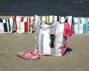 Large Grey Tote // Large Beach Bag, Large Pool Bag, Water Resistant, Ready to Ship!