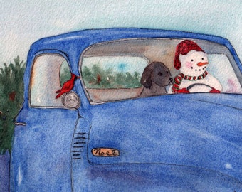 Christmas Snowman and Black Labrador in Old Blue Truck Card.  StellaJaneCards  Watercolor Card.