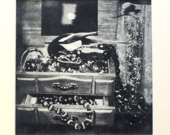 Magpies and Jewellery box. Photo etching limited edition. Hand pulled print.