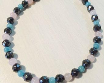 Faceted Hematite, Rose Quartz & Aquamarine Necklace