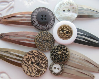Button Hair Clips, Button Barrettes, Button Hair Accessories, Unique Buttons, Decorative Hair Clips, Antique Style Hair Accessories