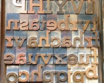 "Vintage Letterpress Wood Typeset, LARGE 3-1/4"" Wood Letters & Numbers"