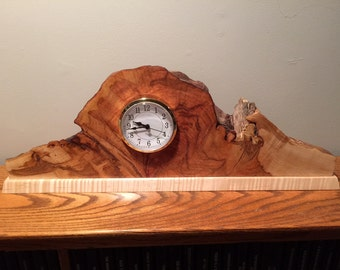 Flame Maple Burl Mantle Clock - Free US Shipping!!! - Item 1037