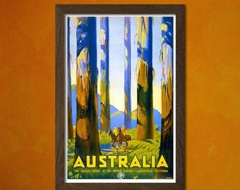 Australia Vintage Poster Published 1930 - Vintage Tourism Travel Poster Advertising Retro Wall Decor Design Art Print Quality Reproduction