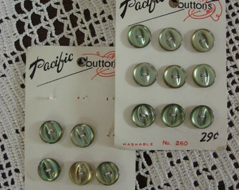 "Pretty Green Vintage Buttons, set of 13, Carded, 1/2"" size"