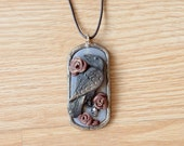 Gothic Raven Necklace, Skull and Raven Necklace, Red Roses and Skull Pendant, Sculpted Polymer Clay Art Pendant, Dark Necklace, Bird Pendant