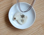 Abstract Primitive Hand Sculpted Rabbit Pendant Necklace, Polymer Clay Bunny Pendant, Simple Folk Art Polymer Clay and Resin Flowers Bunny