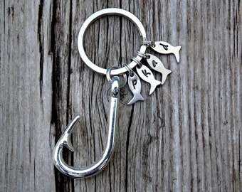 Gifts for Men Hooked on you Keychains Fish hook Key Ring Personalized Gifts Anniversary Gifts Gift for him Valentines Day Boyfriend Gifts