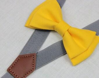 Yellow  bowties,BOWTIE SUSPENDER SET,gray/mid grey suspenders,infant bowties,toddler bowtie,boy bowtie,men bowties,wedding bowtie
