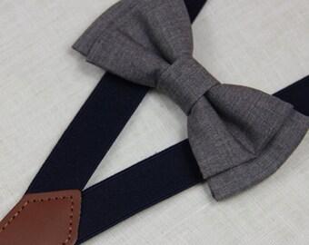 Grey/mid gray bowties,BOWTIE SUSPENDER SET,navy blue suspenders,infant bowties,toddler bowtie,boy bowtie,men bowties,wedding bowtie