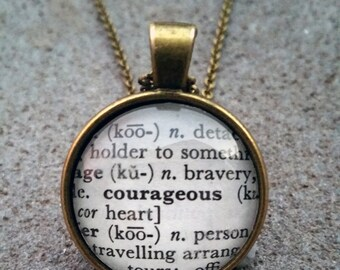 """Word Pendant and Chain """"Courageous"""""""