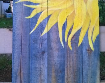 Lemon Fresh Sunflower Original Acrylic Painting on reclaimed pine 17x26 inches approx pallet wood wall art sign