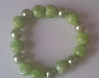 Green Beaded Bracelet   (#370)