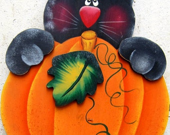 Halloween Yard Art Black Cat Yard Sign Halloween Decor Fall Decor Thanksgiving Decor Autumn Decor Pumpkin Tole Decorative Painting Wood