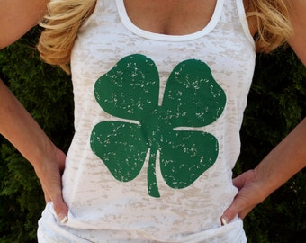 St. Patrick's Day Lucky Four Leaf Clover Workout Tank Top. Shamrock. Running Tank. Fitness shirt. Burnout Workout Tank. Fun Run.
