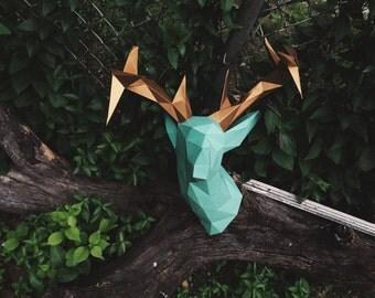 Faux Deer Head papercraft model DIY template