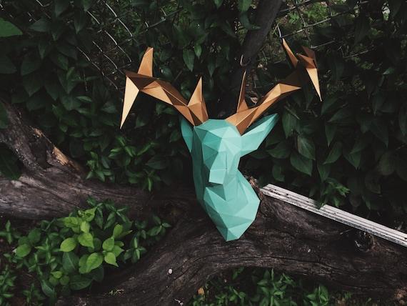 faux deer head papercraft model diy template. Black Bedroom Furniture Sets. Home Design Ideas