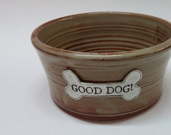 Small dog bowl with Crosby and Taylor pewter faceplace