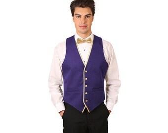Men Grape Back Dress Vest with Gold Trim