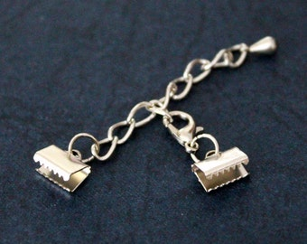 10 Sets Silver Color 6x10 mm Crimp End with Lobster and Extender Chain Set