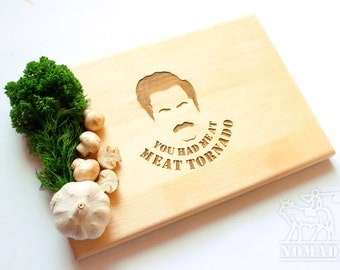 "Ron Swanson Cutting Board  ""You had me at meat tornado"", Parks and Recreation"